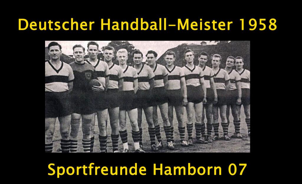 Mannschaftsfoto Hamborn 07: Deutscher Handball Meister 1958