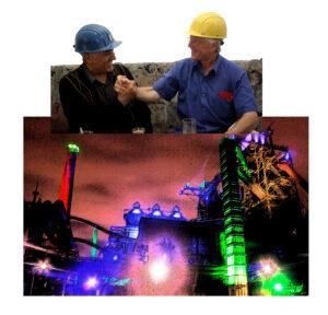 Zwei Arbeiter reichen sich die Hände; darunter Zeichnung eines Hüttenwerks